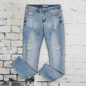 Denim - Light Blue Wash Distressed Skinny Jeans